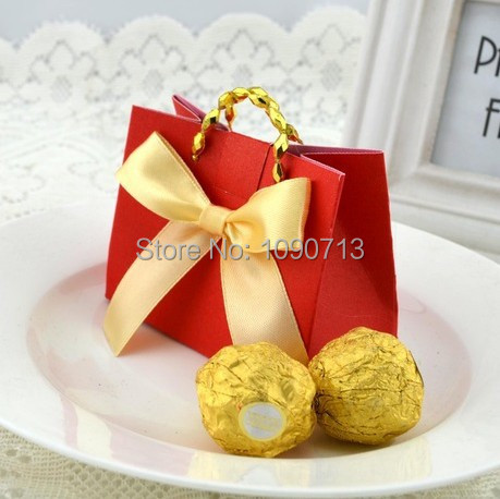 Free Shipping 20X Red Fashion European Small Carry Bag Candy Boxes Wedding Favours Gift Carry Bag Candy Box(China (Mainland))