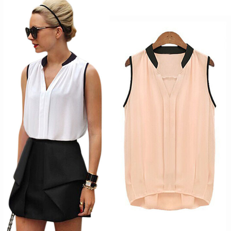 Blusas Femininas 2015 Summer Women Casual OL Chiffon Blouses Solid Sleeveless Shirts Women Tops Cheap Clothes Plus Size WCX679(China (Mainland))