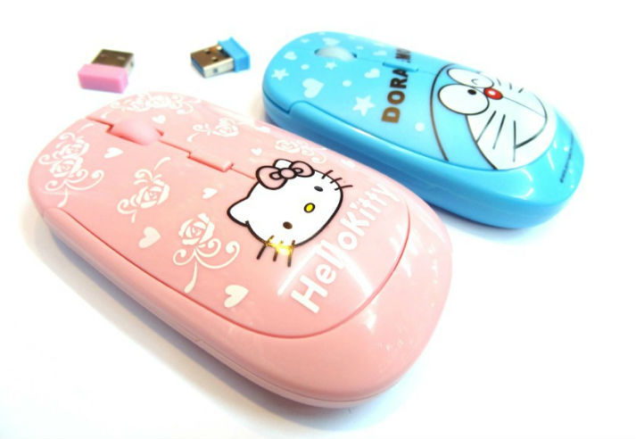 New DORAEMON Hello Kitty cartoon notebook Wireless mouse with 2.4G USB receiver Wireless Optical Mice For Computer Accessories(China (Mainland))