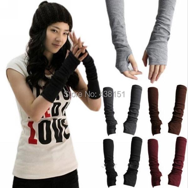 New Fashion Unisex Autumn/Winter Hand Arm Crochet Knit Long Stretchy Fingerless Gloves Warm(China (Mainland))