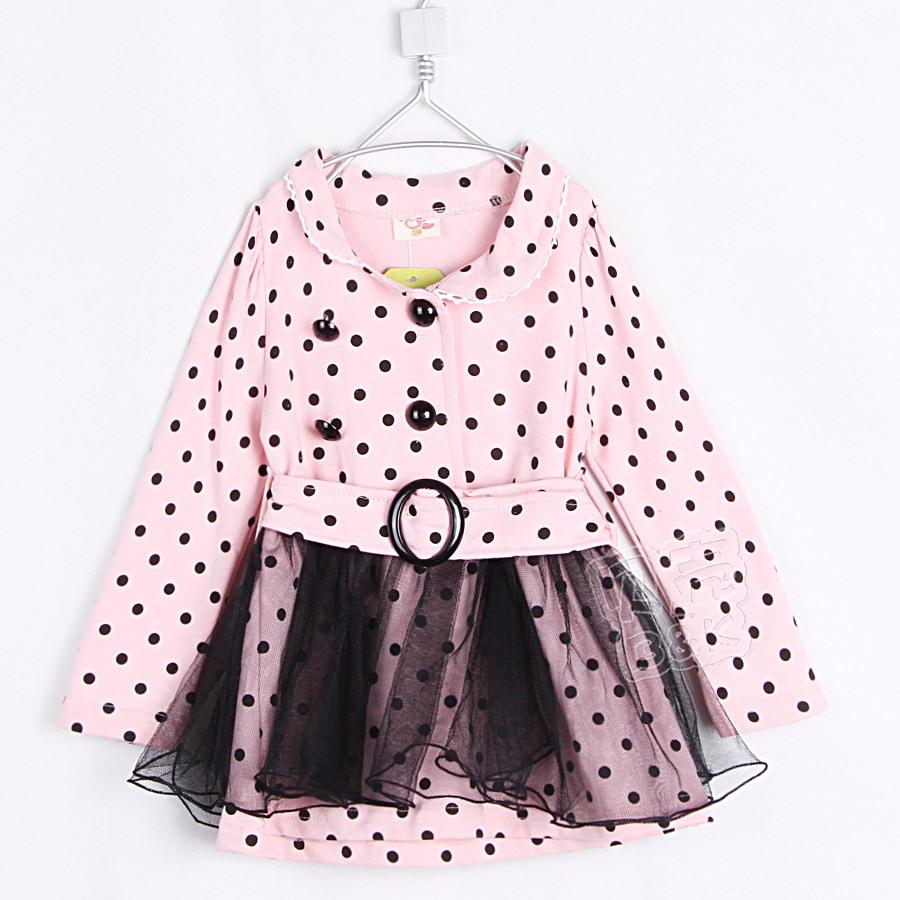2015 Spring dots lace dress girls lolita style long sleeve dress sashes above knee dress A1604(China (Mainland))