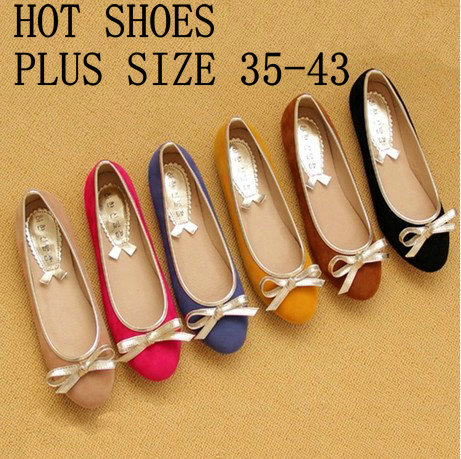 2014 Women Flats Shoes Ballet Flats Bow Round Toe Flats For Women Casual Shoes Plus Size 35-43<br><br>Aliexpress