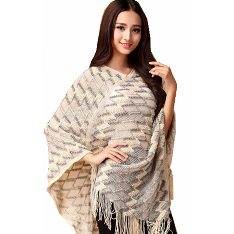 Womens Capes And Ponchos Batwing Sleeve Tassel Irregular ...