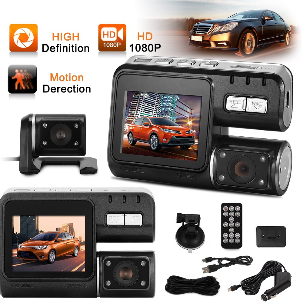 Dual Camera DVR Full HD 1080P Dual Lens Dash Cam Video Recorder 2 Camera Night Vision Car DVR Camcorder MA363-SZ(China (Mainland))