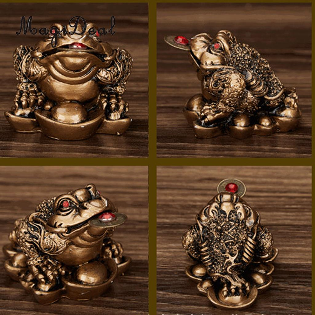 SET 2PCS Feng Shui Lucky Three Legged Money Toad Frog for Office Home Decoration