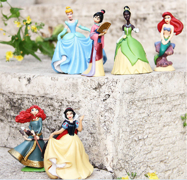 Free shipping 6pcs/lot Anime Cartoon Princess doll Snow White Ariel Cinderella Merida Tiana Hua Mu-Lan PVC action figure toy<br><br>Aliexpress