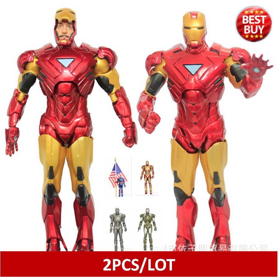 2pcs/lot  Marvel Iron Man 3 Action Figure Superhero Iron Man Tonny Mark PVC Figure Toy 20cm Chritmas Gift  brinquedos