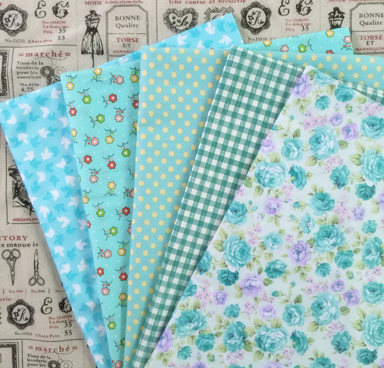 5pcs 50*50cm blue 100% Cotton Quilts Fabric for DIY Sewing Patchwork Kids Bedding Tilda Doll Cloth Textiles Fabric 026029009(China (Mainland))