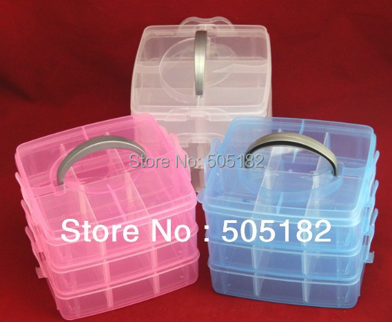 Multi Utility caskets jewel Storage Case Box plastic 3 Layer Nail Art Craft Fishing Makeup Tool casket Hard Rack Free Shipping(China (Mainland))