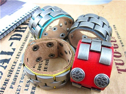 5pcs Wholesale Fashion Unisex Alloy Leather Men's Women's Cuff Wristband Bracelet Bangle Free Shipping Z17