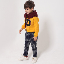 Hot Fashion Korean Kids Haren Pants Winter New Classic Vertical Stripes And Velvet Trousers boy pants(China (Mainland))