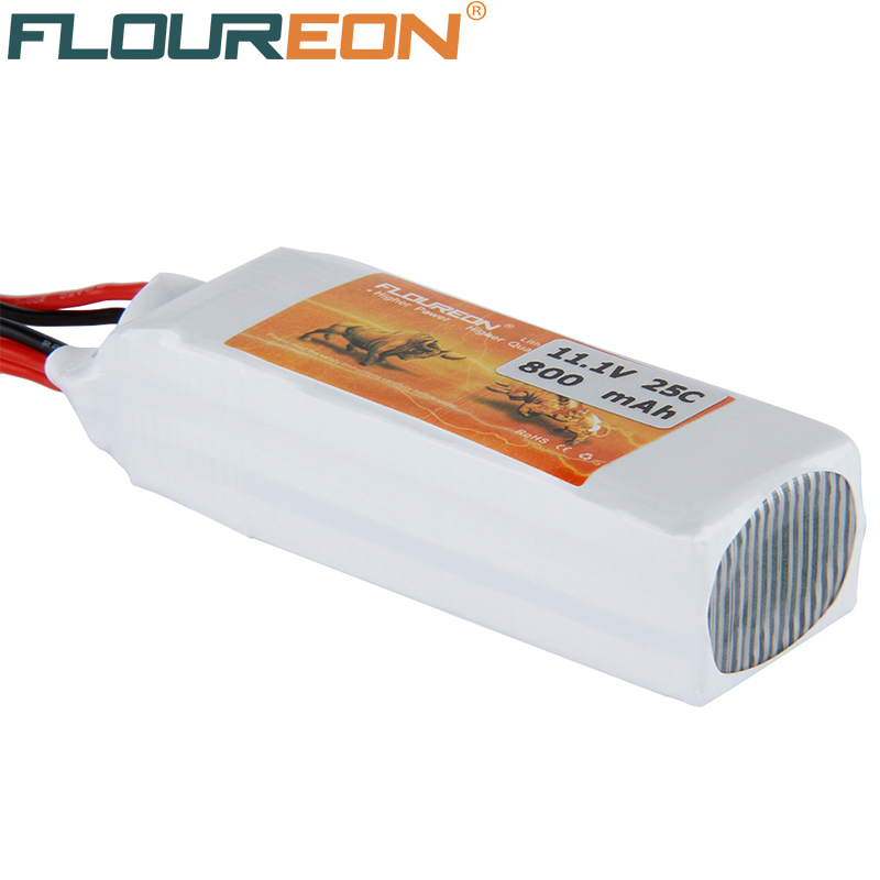FLOUREON 11.1V 800mAh 25C Lipo 3S RC Helicopter Battery for RC Control Toys Rechargeable JXT Plug Li-poly Batteries(China (Mainland))