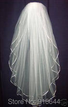 Top Quality In Stock Wedding Veil Wholesale Price White/Ivory Silk Ribbon Two Layer With Comb Bridal Veil Bridal Accessories(China (Mainland))