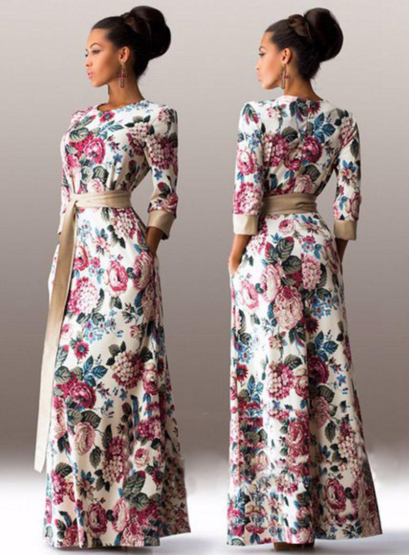 Women slim vintage elegant long dress sutumn three quarter sleeve round neck printed floor-length summer dress women long dress