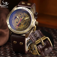 SHENHUA Retro Bronze Skeleton Mechanical Watch Men Automatic Watches Sport Luxury Top Brand Leather Watch Relogio Masculino(China (Mainland))