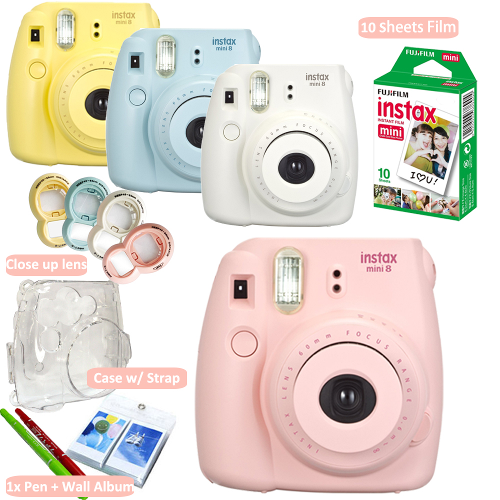 Fujifilm Instax Mini 8 Camera+ Fuji 10 Photos Instant Mini White Film + Accessories Close up lens, Crystal Hard Case + Free Gift(Hong Kong)