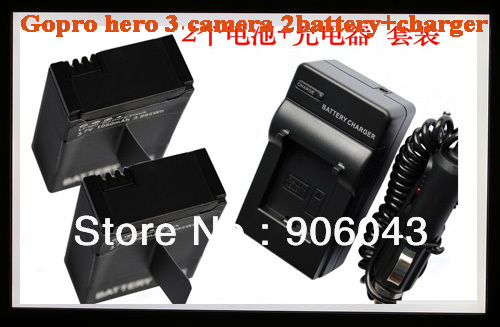 Free shipping 2pcs GOPRO Hero3 Camera battery+wall and car chargers Helmet Surf Naked Motersports,battery for gopro video camera