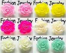 1 pair new lovely ear studs earrings for women big rose flower vintage fashion jewelry mixed earings for girls free shipping(China (Mainland))