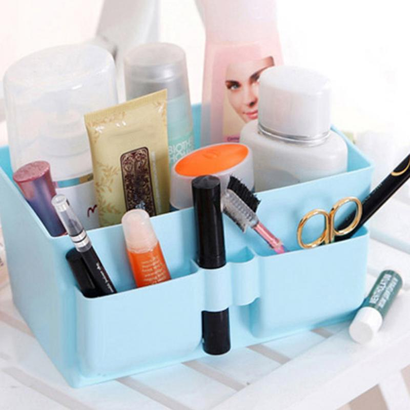 Newest Cute Plastic Office Desktop Storage Boxes Makeup Organizer Storage Box Blue(China (Mainland))