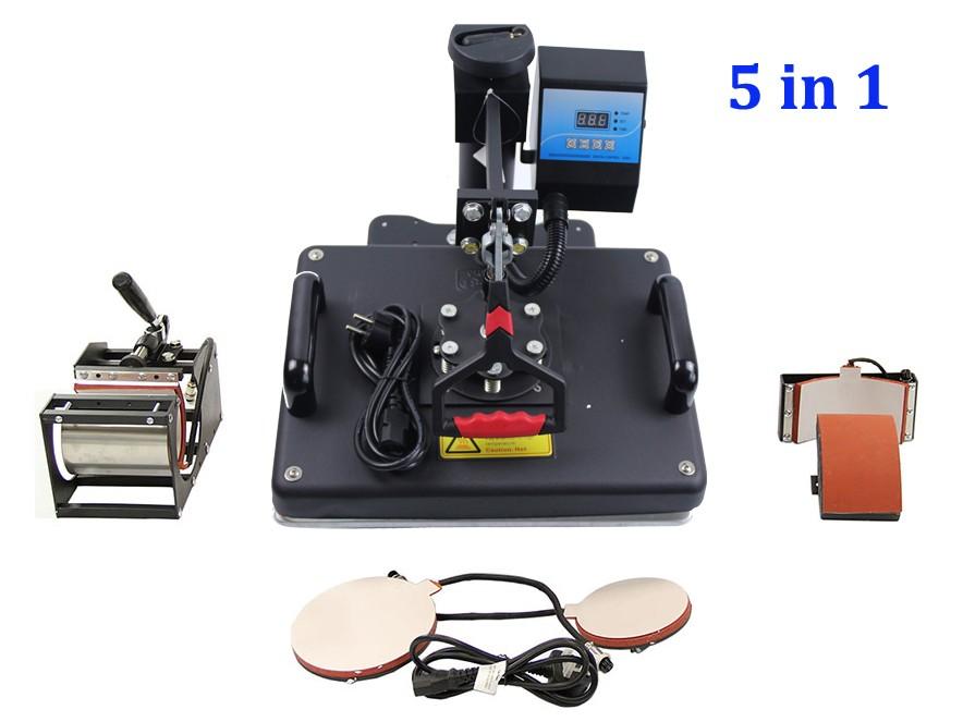 Купить Бесплатная Доставка 5 в 1 Сублимации тепло пресс-передачи машины DX-035 для Печати Кружка Пластины T-Shirt