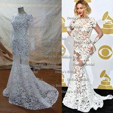 Beyonce Jewel Neckline Appliqued Long Sleeve Lace Backless Sheer Celebrity Dresses(China (Mainland))