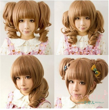 New double tail light brown Qi Liu Synthetic wigs rose Intranet fashion women wig(China (Mainland))