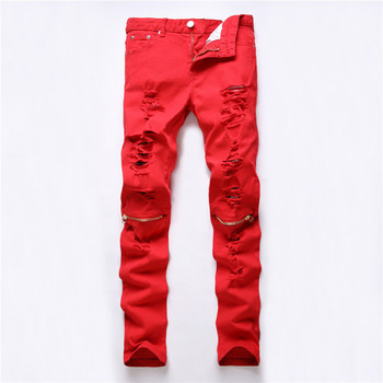 2016 New Red Ripped Jeans Men With Holes Super Skinny Famous Designer Brand Slim Fit Destroyed Torn Jean Pants For Male Homme