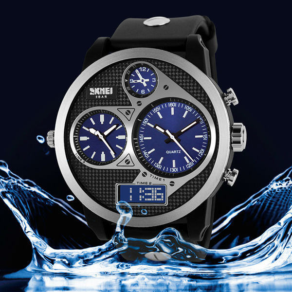 1pc/lot new arrival high quality 3 digital quartz movement 5ATM waterproof diving style 1033 skmei watch men(China (Mainland))