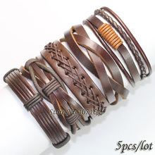 FL73-Free shipping (5pcs/lot) 2013 high quality vintage style wristband handmade woven ethnic genuine braided leather bracelet