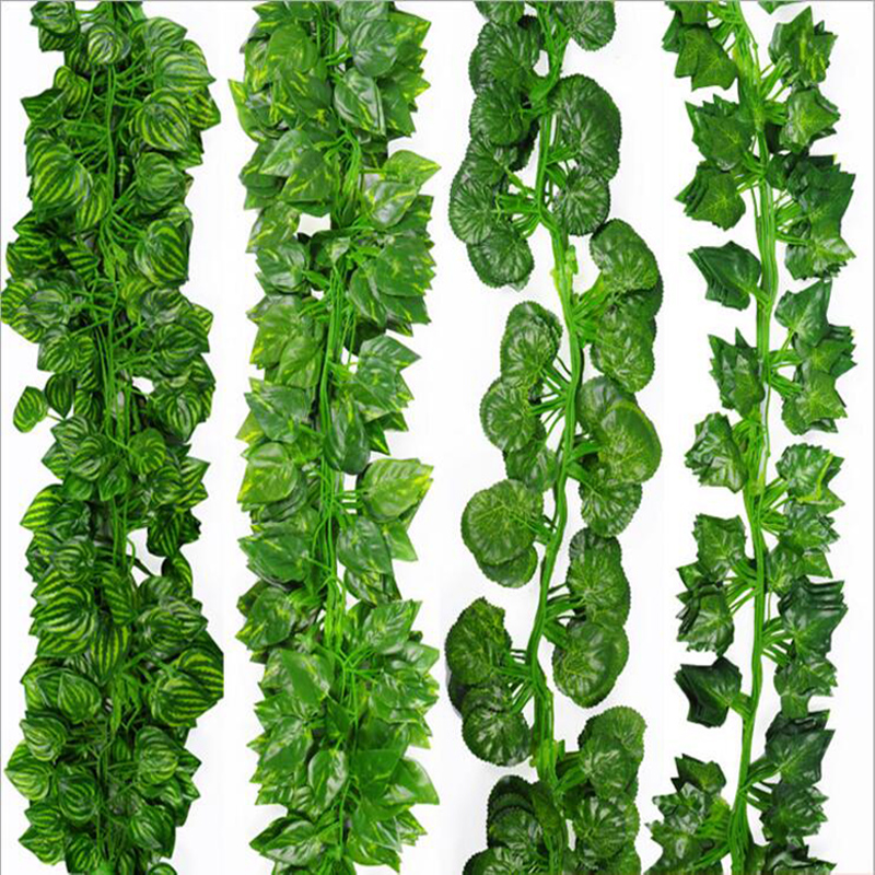 Artificial Plants Green Ivy Leaves Artificial Grape Vine Fake Foliage Leaves DIY Home Wedding Decoration 200cm / 6.56ft Length(China (Mainland))
