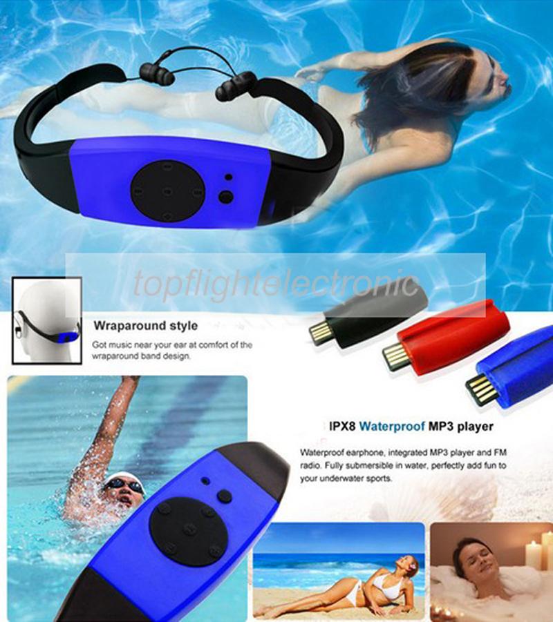 4GB/8GB Waterproof IPX8 Diving Swimming Surfing MP3 Player Headset FM Radio Music Player(China (Mainland))