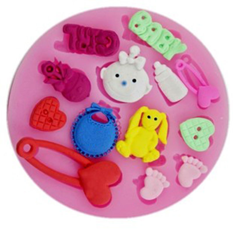 Cake Decorating Sugar Dough : Baby Shower Party 3D Silicone Fondant Mold For Cake ...