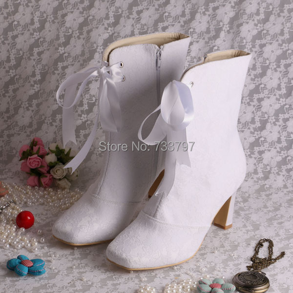 Lace Wedding Boots White Square Toe High Heel Satin Bridal Winter Half Boots With Ribbons Free ...