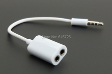 10pcs/lot  white 3.5mm One in two couples audio line Earbud Headset Headphone Earphone Splitter For Tablet Phone MP3 MP4