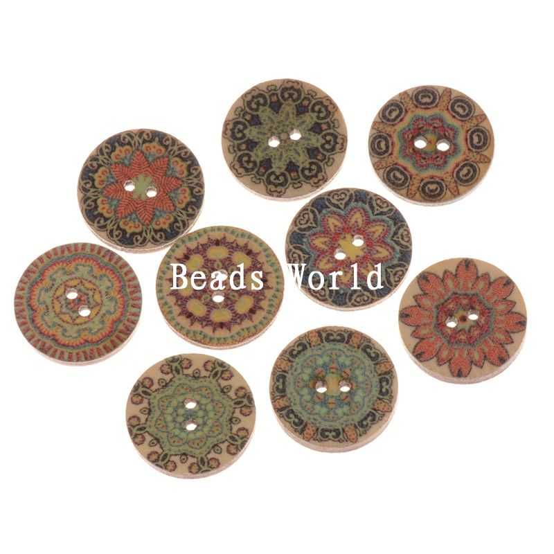 Rushed New Wooden Buttons 100 Pcs Wood Sewing Decorative Buttons Scrapbooking Vintage Pattern Jewelry Diy 20mm(w05960 X 1)(China (Mainland))