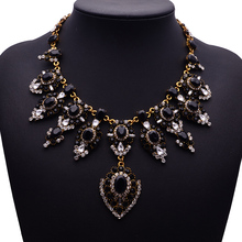 XG226 New Arrival Vintage Crystal Necklaces Pendants Crystal Flower Droplets Statement Necklace Gold Crystal Chain Jewelry