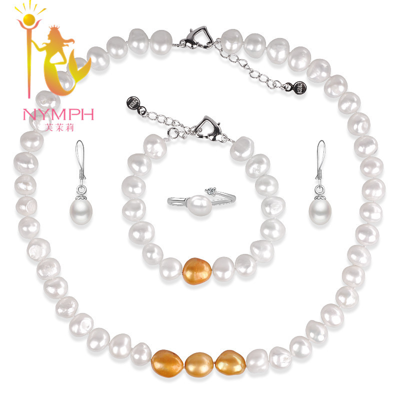 2014 NEW  NYMPH brand natural freshwater pearl necklace AAA fashion four piece jewelry sets  wedding necklace free shipping<br><br>Aliexpress