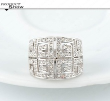 LZESHINE Brand Design Rhinestone Ring Platinum Plated Letter G Ring With SWA Element Austrian Crystal Ri