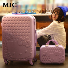 "20""22""24""inch Hello kitty Luggage set,KT cat Boarding Suitcase,Candy colors Universal wheels Trolley,Travel Drag Box, Lockbox(China (Mainland))"