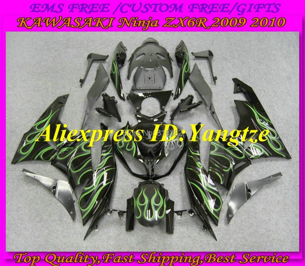 Мото обвесы KAWASAKI Ninja ZX6R 09 10 ZX6R 636 2009 2010 ABS + 7 SD19 cnc motorcycle frame sliders crash engine guard pad aluminium side shield protector for kawasaki ninja zx6r zx636 2013 2014 2015