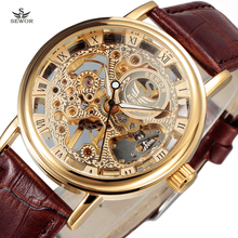 New SEWOR Luxury Brand Gold Transparent Skeleton Watch Men Mechanical Hand Wind Wristwatch Male Fashion Leather Band Wristwatch(China (Mainland))