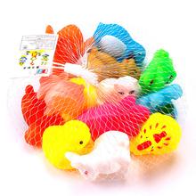 1Set=13Pcs 2016 New Fashion  Born Babies Swim  Cute Soft Rubber Float Sqeeze Sound Baby Bath Animals Toys #83831(China (Mainland))