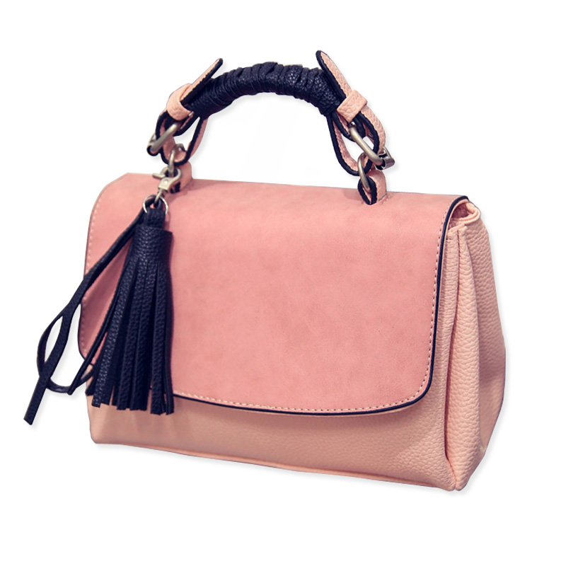 2016 Panelled Small Women Handbag Summer Tassel Women's Shoulder Bag Fashion Pink Messenger Bag For Casual Ladies Crossbody Bags(China (Mainland))