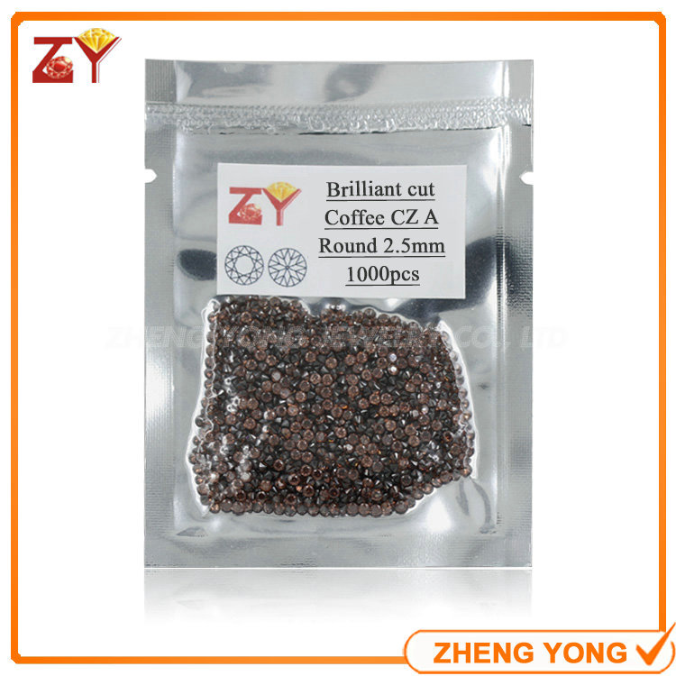 2.5mm Round Brilliant Cut Loose Coffee(Brown) Synthetic Cubic Zirconia Gemstone For Jewelry Making<br><br>Aliexpress
