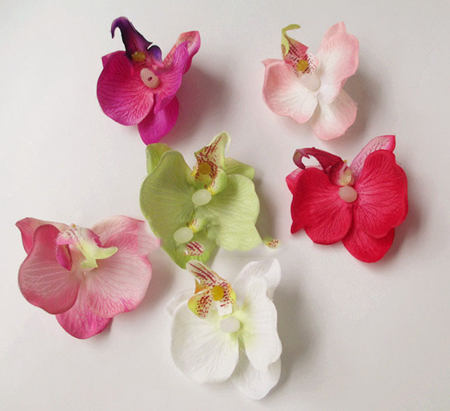2016 The new simulation small phalaenopsis orchid DIY colorful butterfly side clip hat corsage flower shoes, flowers(China (Mainland))