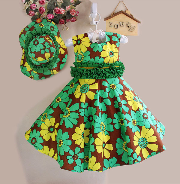 New Girls Dress+ Hat Green Flower Print Belt Princess Party Pageant Beach Child Clothes Size 2-7(China (Mainland))