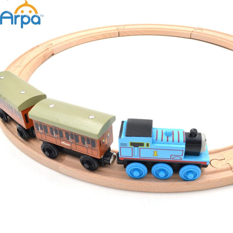Beech Wood Thomas Train Annie and Clarabel Circle Track Railway Vehicle Playset Accessories Toys,1 SET =Track+Locomotive+Tender(China (Mainland))