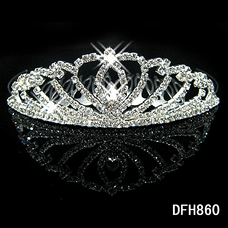 W15 Crown Tiara Peach Heart Elegant Rhinestone Crystal bridal hair Jewelry Wedding Bride Party B7(China (Mainland))