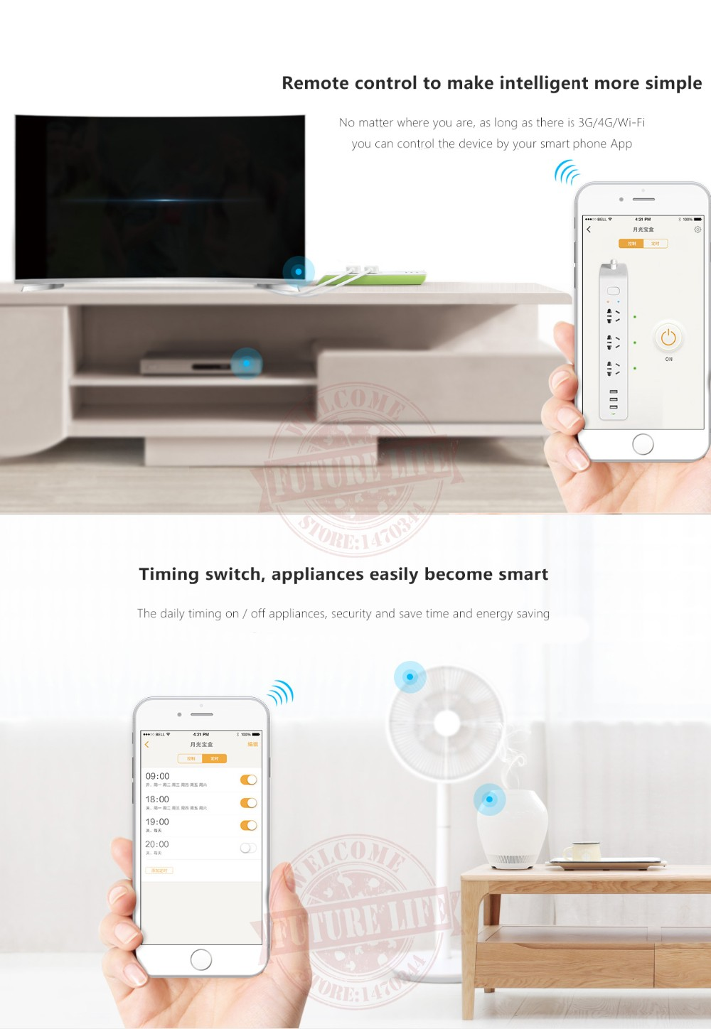 Broadlink MP2 Smart Home Power Strip Wireless Remote Control Home Electrical Smart Plugs Sockets By e-controle Switch