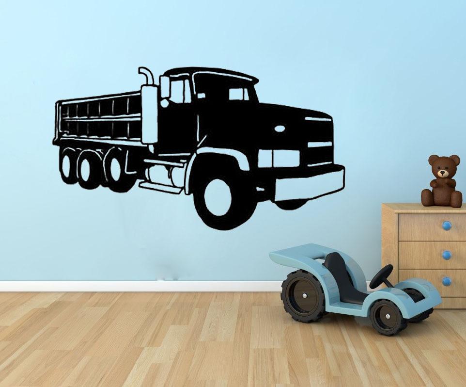 Boys Room Decor Big Dump Truck wall decals vinyl stickers home decor nursery wall decal kid wall paper murals(China (Mainland))